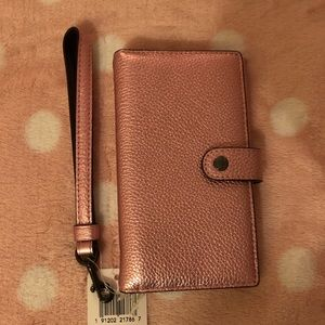 Coach Metallic Blush Pink Phone Wallet